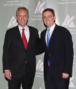 In this Aug. 11, 2011, file photo, Lexington Mayor Jim Gray, right, and Louisville Mayor Greg Fischer appeared together during discussion of the Brookings study. Results of the study were released Monday, Nov. 25, 2013. | Photo by Mark Cornelison | Herald-Leader Staff