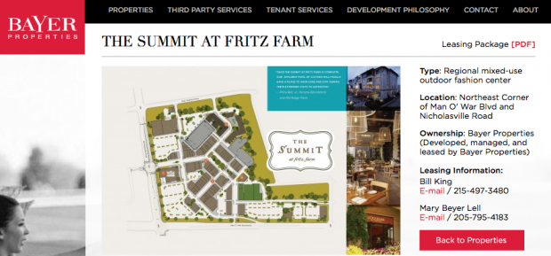 Bayer Properties, Plans for The Summit